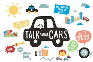 "Pictures of cars, roads, and text that says:  Let's Talk About Cars.  Dialogue bubbles say, ""My favorite Place to Go Is..."" ""Let's name the parts of the car"", ""Which car is the biggest?""  ""What colors are the cars?"" and ""Honk!"""