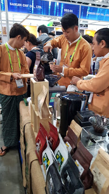 The Myanmar Restaurant Association was serving Myanmar coffee.