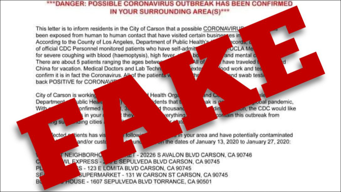 This letter claims there's a Coronavirus outbreak. It's fake.