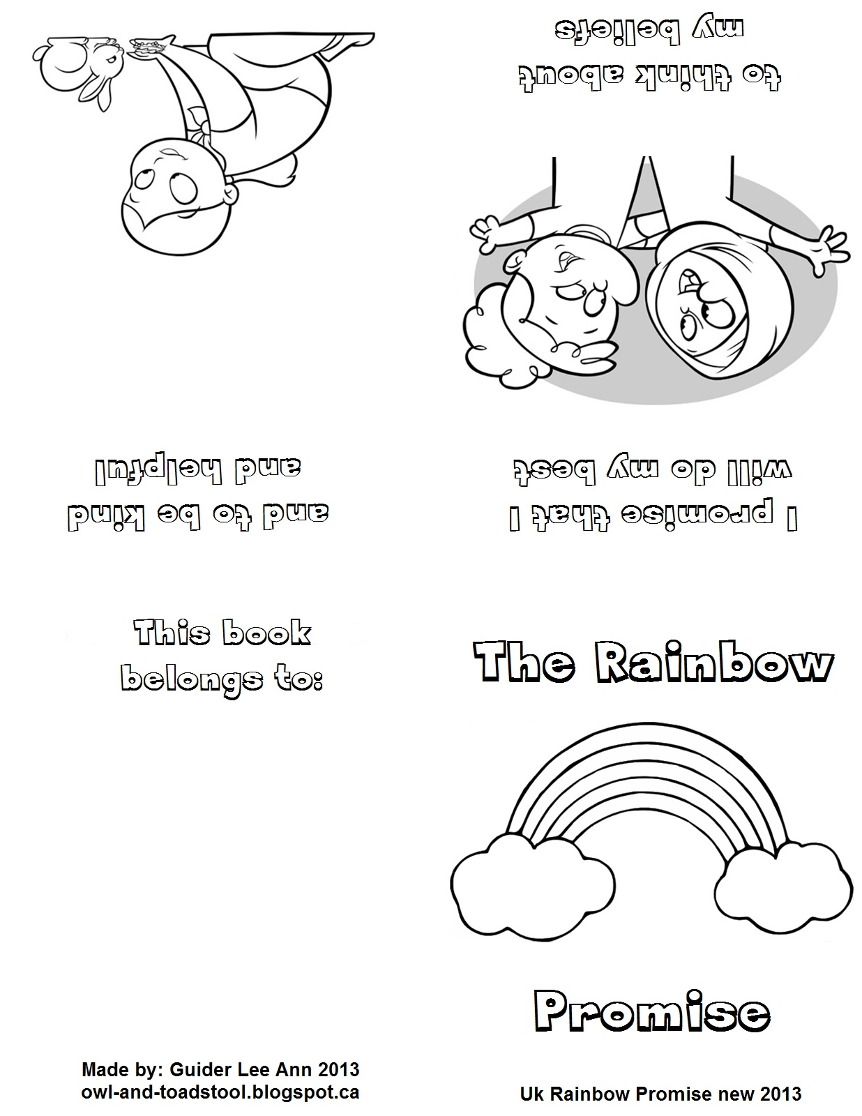 girl guide coloring pages - owl toadstool girlguiding uk new promise mini books