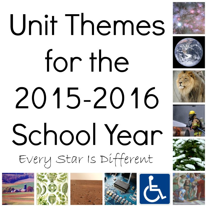 Unit Themes for the 2015-2016 School Year