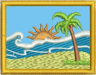escena de playa con aplique