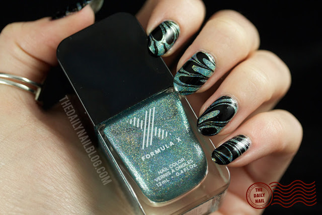 nail art, watermarble, athena, the daily nail