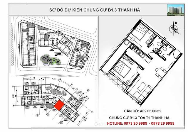 Sơ đồ mặt bằng chi tiết căn hộ A02 tòa T1 chung cư B1.3 Thanh hà