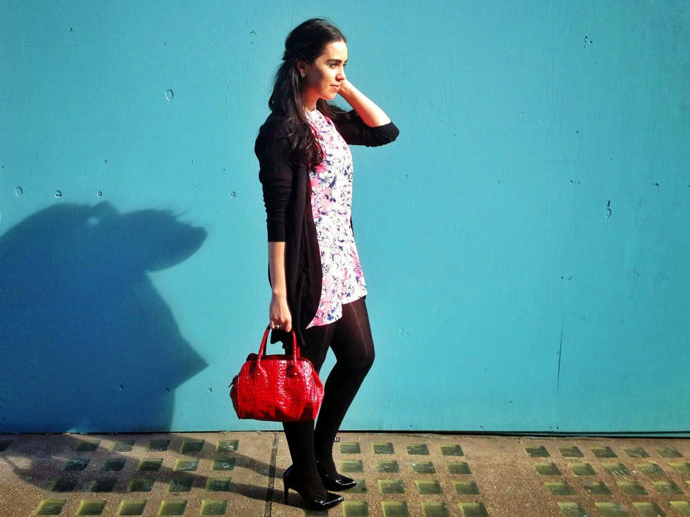 London fashion blogger Emma Louise Layla in floral print ASOS dress