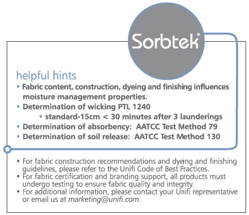 SORBTEK moisture wicking fabric