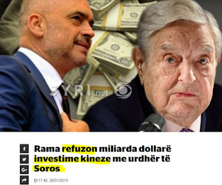 Αλβανία: Ο Ράμα απορρίπτει δισεκατομμύρια δολάρια κινεζικών επενδύσεων με διαταγή του Σόρος