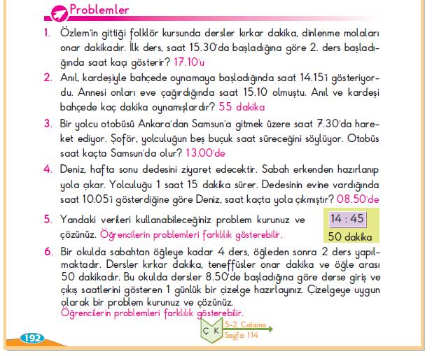 3. Sınıf Berkay Yayınları Matematik Ders Kitabı 192.Sayfa Cevapları Zamanı Ölçelim