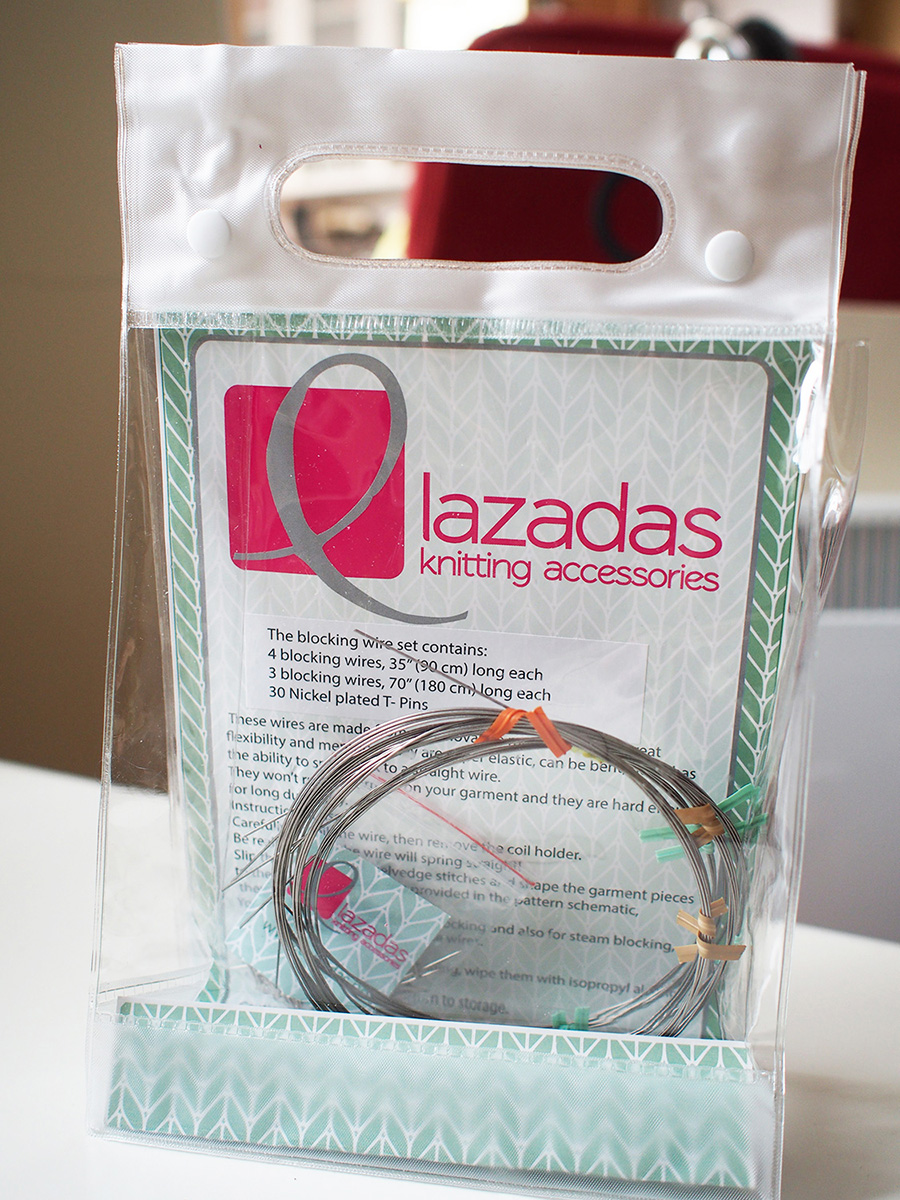 Lazadas flexible blocking wires on Dayana Knits