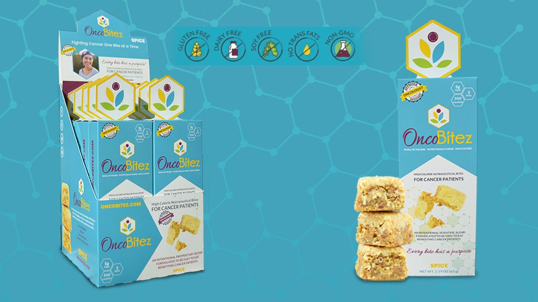 OncoBitez, a new brand of nutraceutical meal bites for cancer patients.