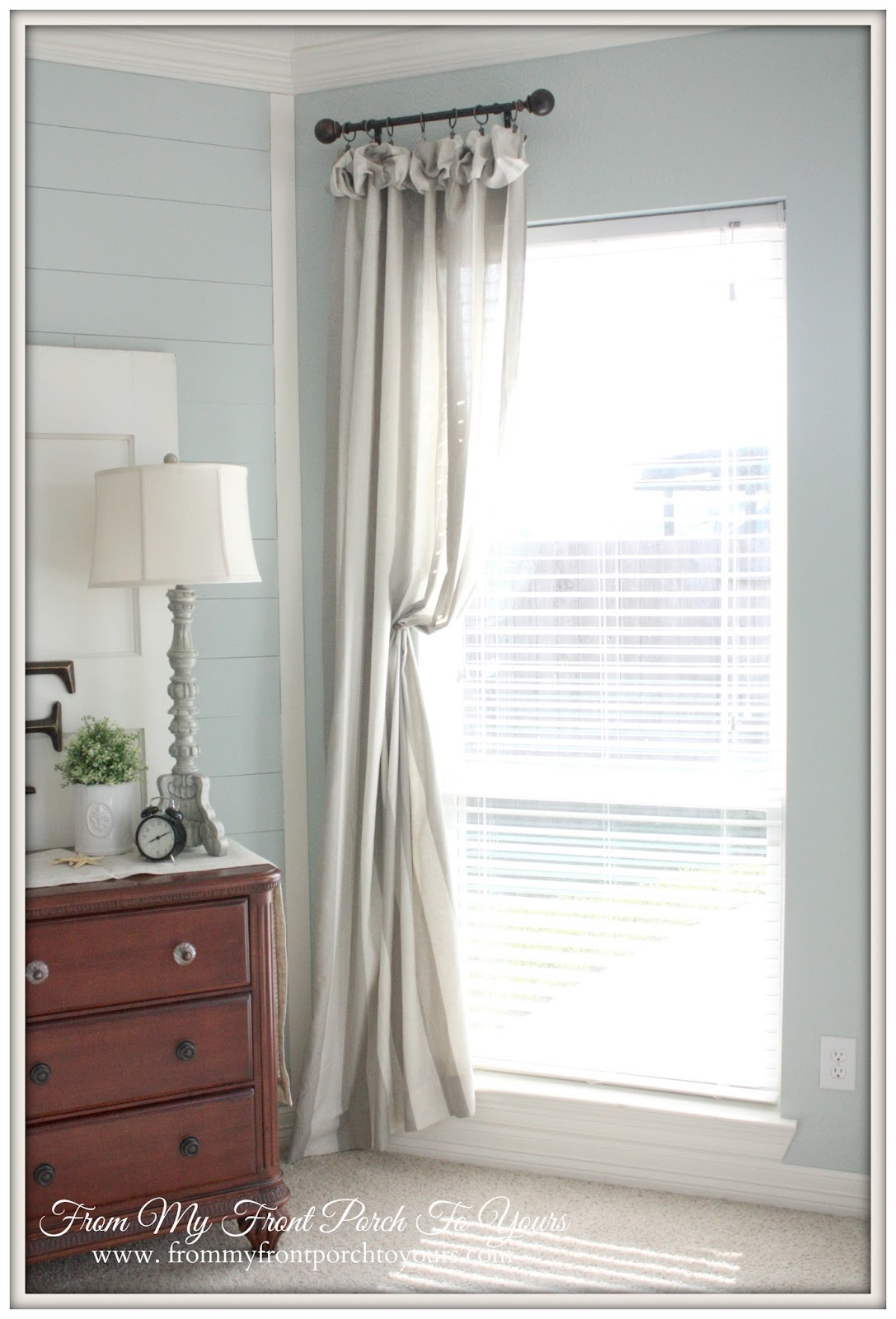 From My Front Porch To Yours- French Farmhouse Bedroom Striped Curtains