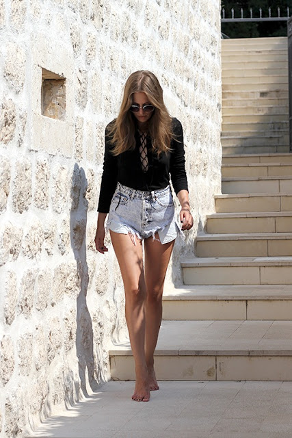 Celebrities denim shorts | cut off shorts by Vanja Milicevic