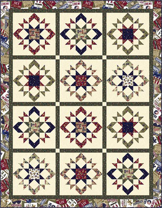 Love My Hero Quilt Free Pattern designed by Wendy Sheppard for Quilting Treasures