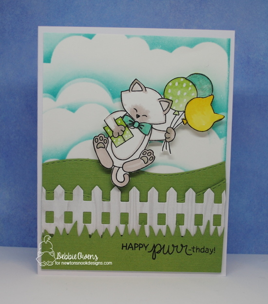 Have a purr-fect birthday by Debbie features Newton's Birthday Balloons, Land Borders, Fence, Sky Borders by Newton's Nook Designs; #newtonsnook