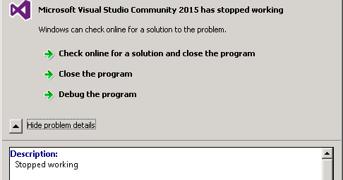 All Systems Nominal: Visual Studio 2015 Update 1 crash on install