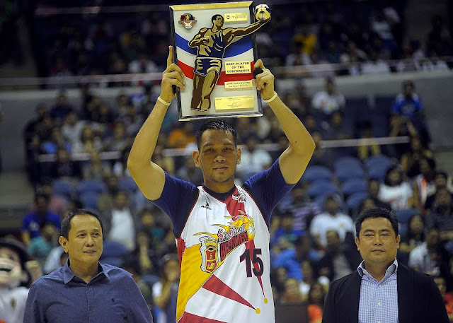 Junmar Fajardo wins his 3rd Best Player of the Conference Award