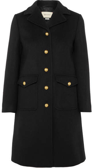 Embellished wool-felt coat