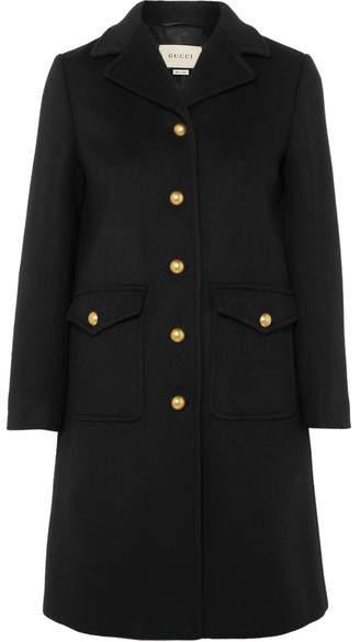 Embellished wool-felt coat