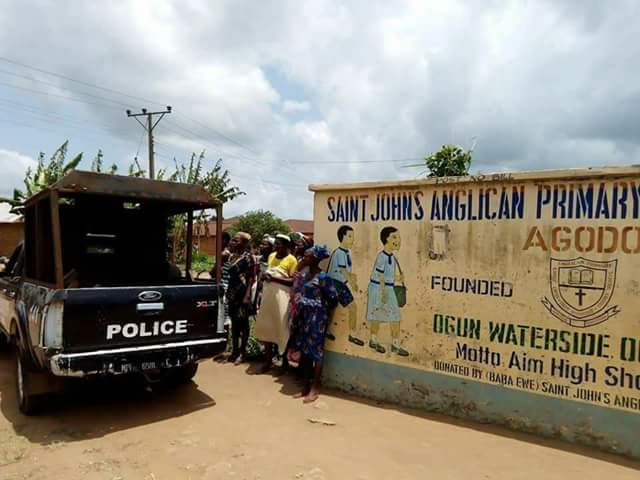 Extreme graphic photos from the school where a mentally unstable man hacked two 4yr-old pupils to death in Ogun State