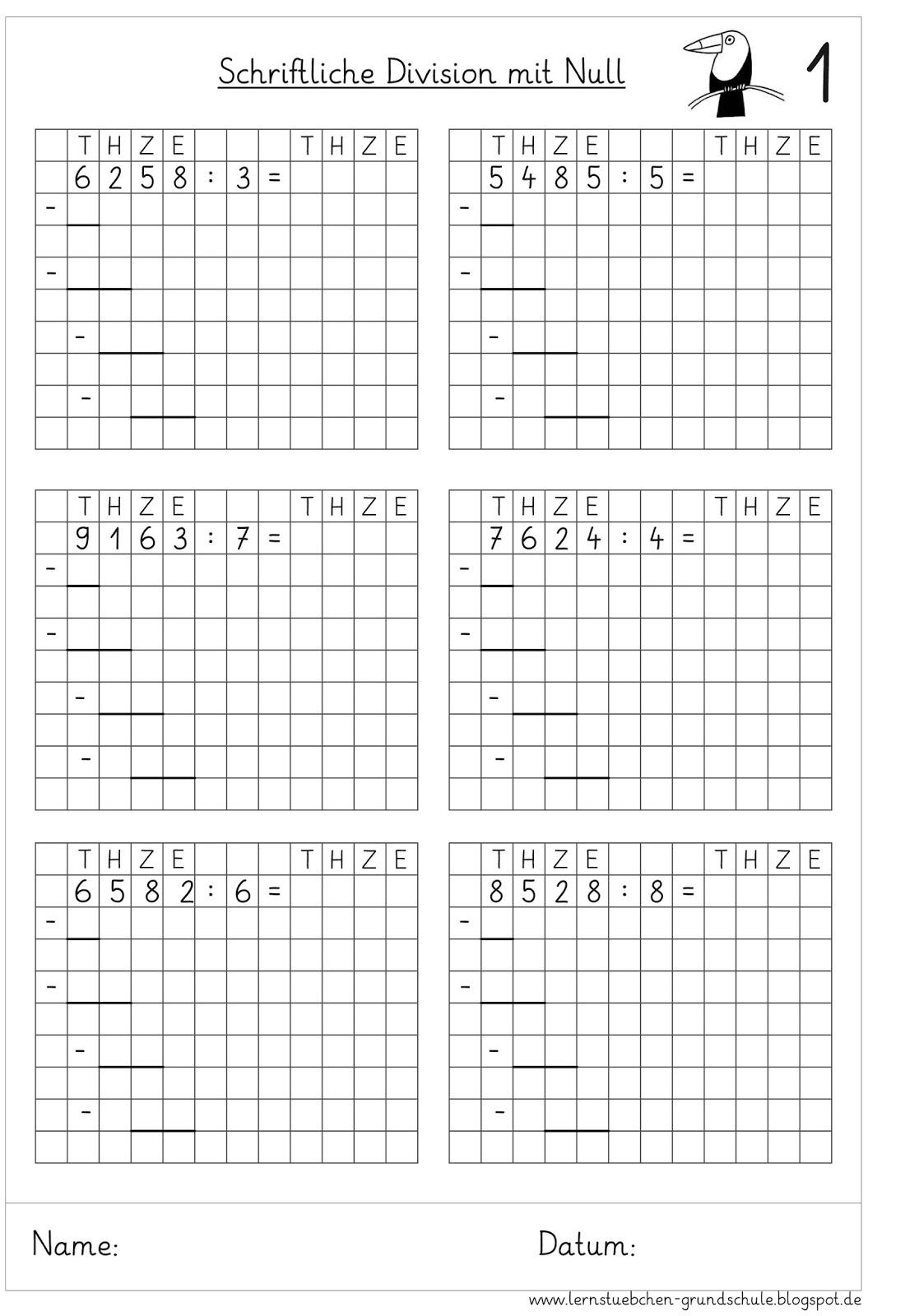Lernstübchen: schriftliche Division mit einer Null im Ergebnis