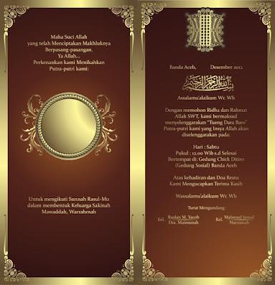 Download Desain Undangan Pernikahan Cokelat Emas CDR Vektor