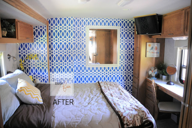 RV bedroom wall transformed with wallpaper :: OrganizingMadeFun.com