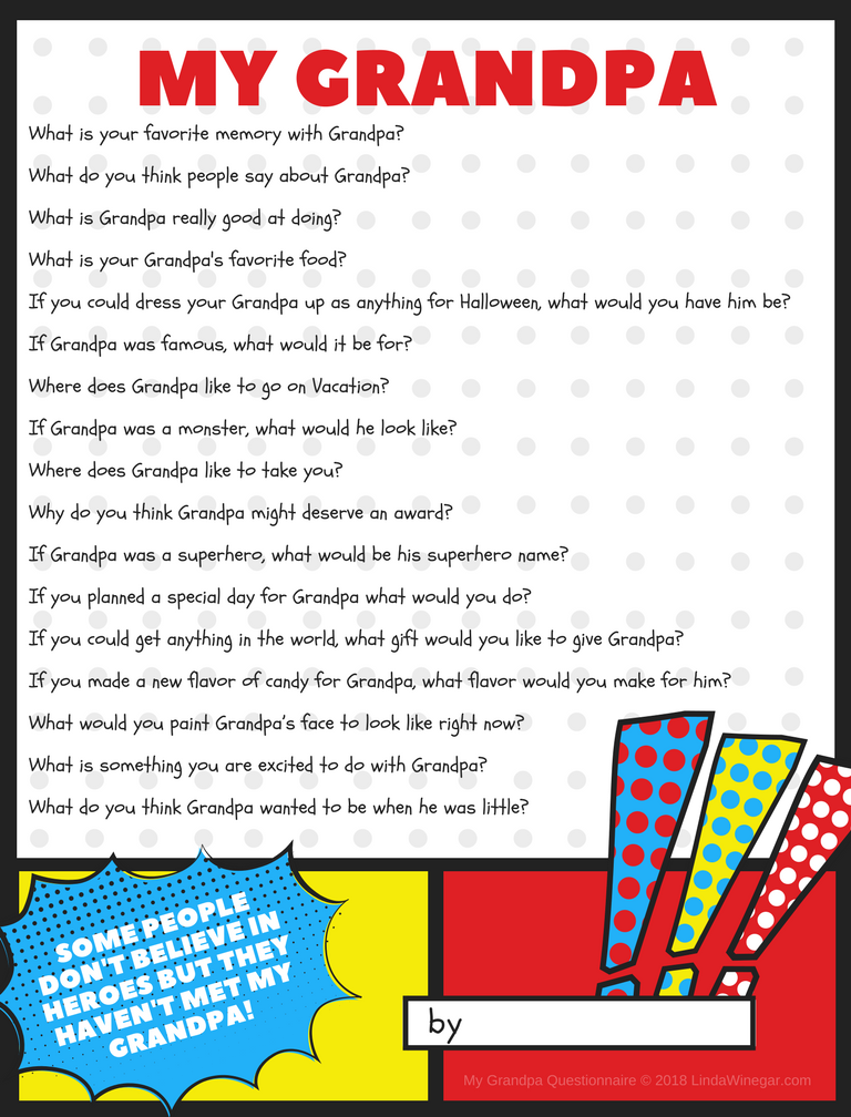 It is a picture of Grandpa Questionnaire Printable within grandpa fill in blank