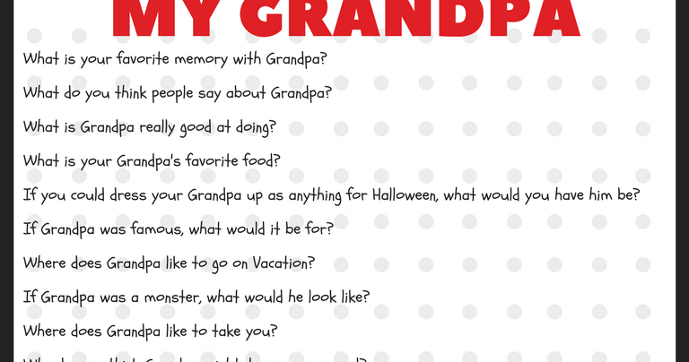 photograph relating to Grandpa Questionnaire Printable called My Grandpa Questionnaire PDF - Linda Winegar