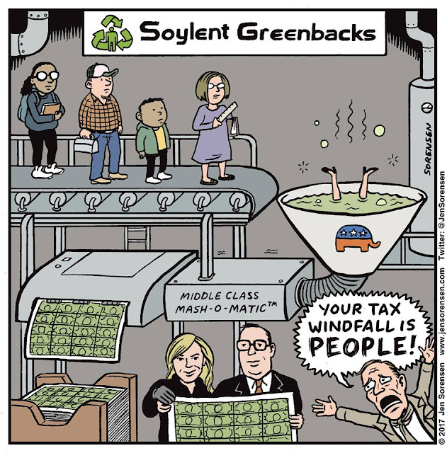 Title:  Soylent Greenbacks.  Image:  Conveyor belt carrying ordinary working persons and students into vat labeled