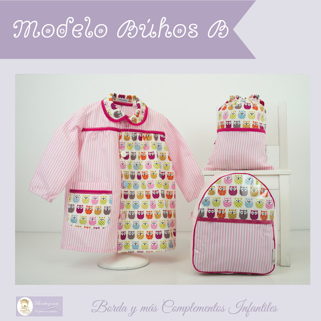 mochila baby guarderia cole buhos rosa