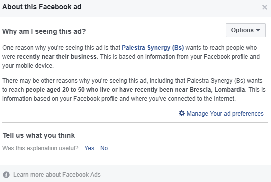 Why I'm seeing this ad, Facebook, gym ad.