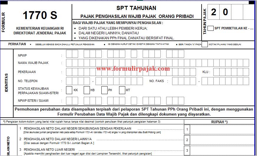Formulir Spt Tahunan 1770 S Excel Cara Lapor Pajak Online