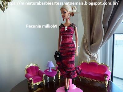 Vestido de Croche e Sapatinhos Com Renda Para Barbie Criados Por Pecunia MillioM