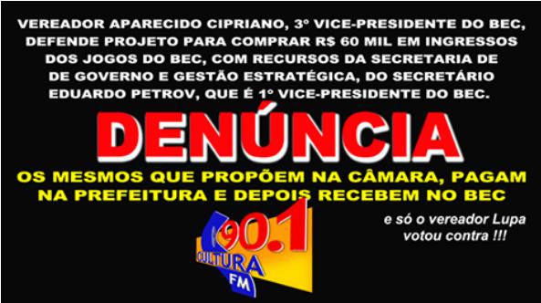 BARRETENSES DENUNCIAM SUSPEITA DE CORRUPÇÃO EM PROJETO DE LEI. /VEREADOR E SECRETÁRIO SÃO VICE-PRESIDENTES DE ENTIDADE BENEFICIÁRIA (CULTURA FM DE GUAIRA-SP)