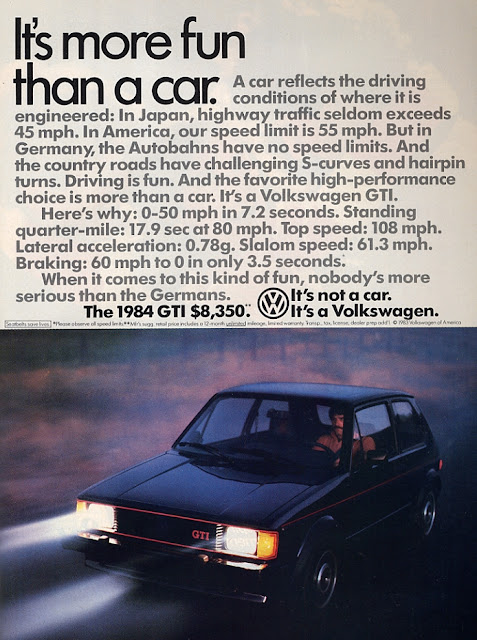 Print ad for 1984 Volkswagen GTI