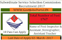 Subordinate Service Selection Commission Recruitment 2017 for Assistant & Inspector Officer
