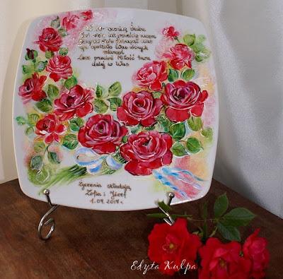 Talerze dekoracyjne okolicznościowe malowane ręcznie_ rękodzieło