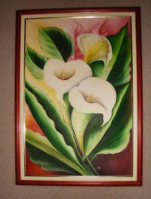 tela pintada flores copos de leite
