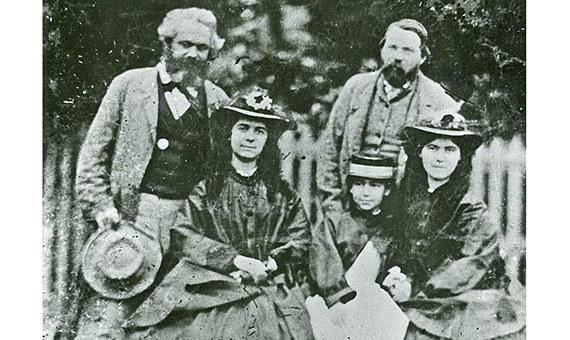 Friedrich Engels, Karl Marx and Marx's daughters: Jenny Caroline (1844-1883), Jenny Julia Eleanor (1855-1898) and Jenny Laura (1845-1911)