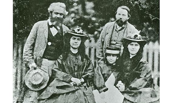 Friedrich Engels, Karl Marx and Marx's daughters: Jenny Caroline (1844-1883), Jenny Julia Eleanor (1855-1898) and Jenny Laura (1845-1911)