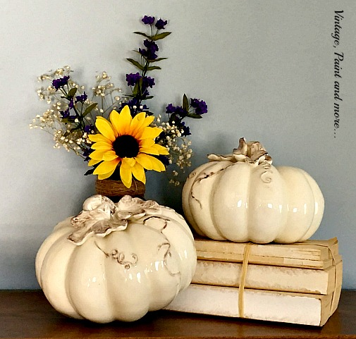 Vintage, Paint and more... using unexpected colors in fall decor - ceramic white pumpkins with sunflowers and purple larkspur in a burlap jar