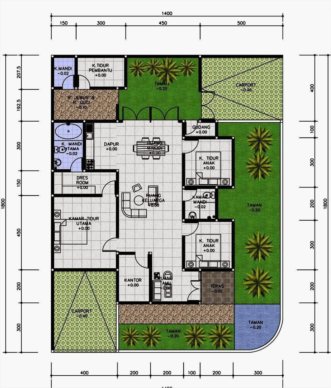 20 Denah Rumah Minimalis 3 Kamar Tidur Rumahku Unik