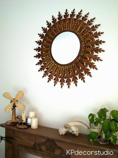 Espejos tipo sol de pared antiguos redondos metálicos