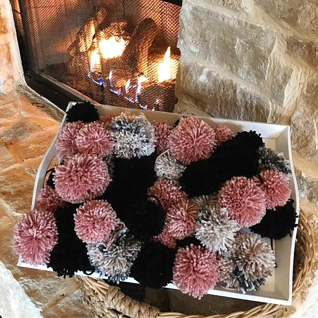 cozy, crafting, making, diy, Winter, project, pom poms