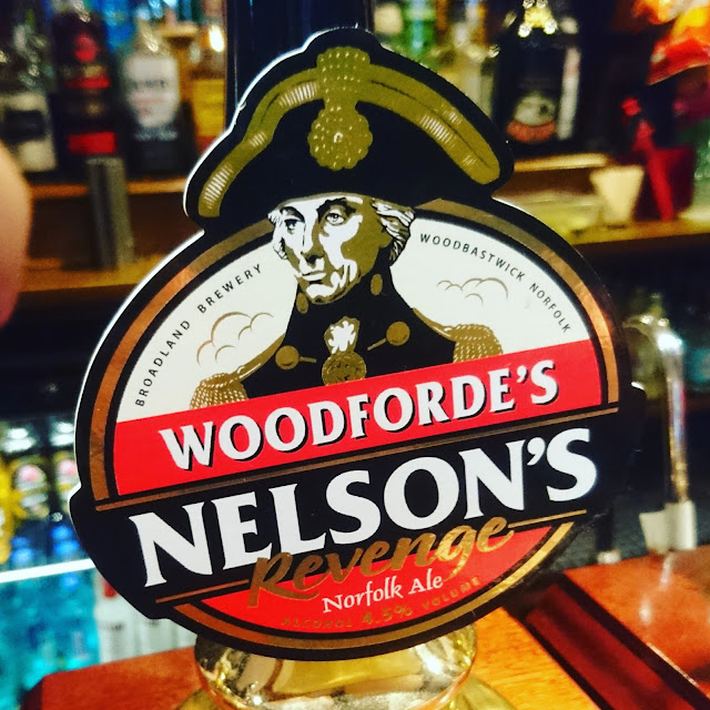 Norfolk Craft Beer Review: Nelson's Revenge from Woodforde's pump clip real ale