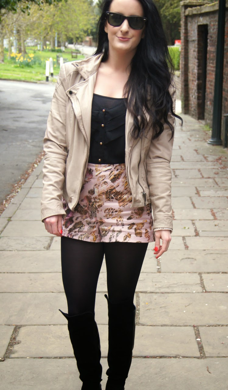 spring ootd muubaa blush leather biker jacket