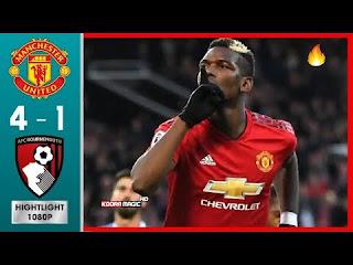 اهداف مباراة مانشستر يونايتد وبورنموث 4-1