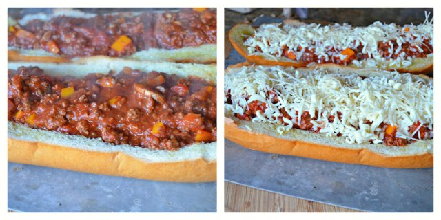 Italian Sloppy Joes fill with spaghetti sauce and cover with cheese from Serena Bakes Simply From Scratch.