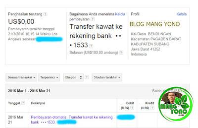 Penampakan Pembayaran otomatis: Transfer kawat ke rekening bank  •••1533.