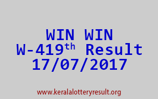 WIN WIN Lottery W 419 Results 17-7-2017